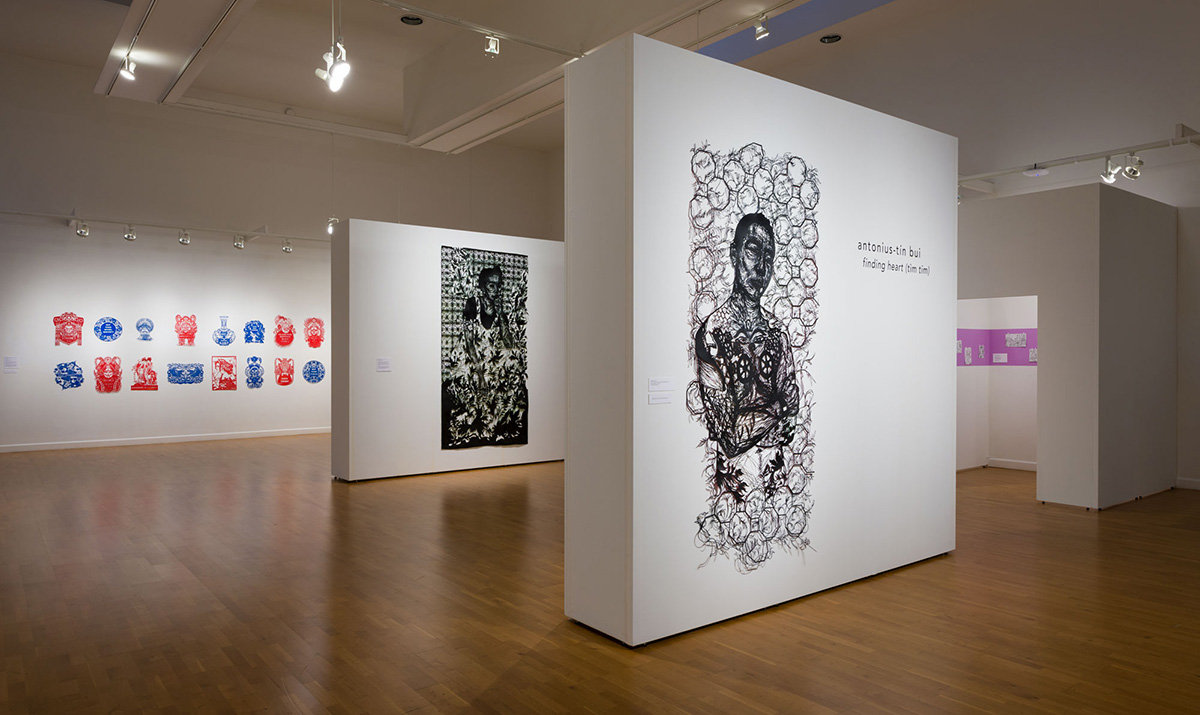 Installation view of Finding Heart (tìm tim) in the Laband Art Gallery
